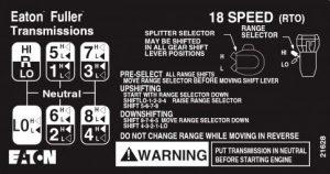 18 speed road ranger gear pattern